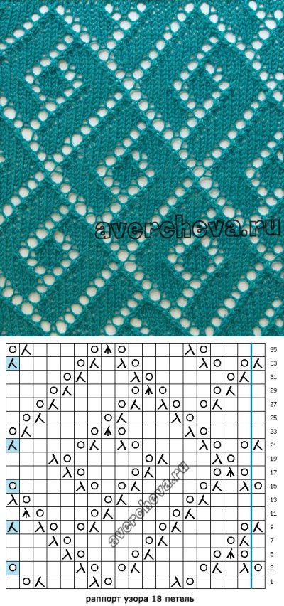 узор спицами 556 « геометрия в ажуре» | каталог вязаных спицами узоров