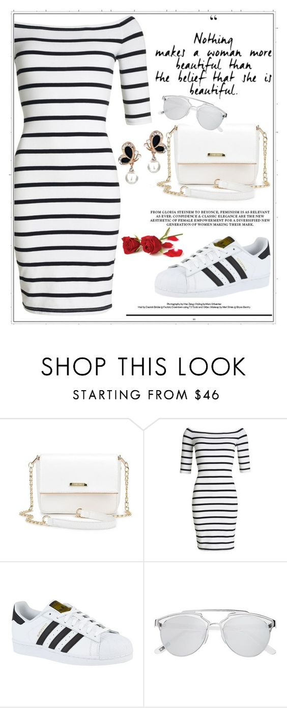 """Stripped Dress"" by emina136 ❤ liked on Polyvore featuring Superdry, adidas and Witchery"