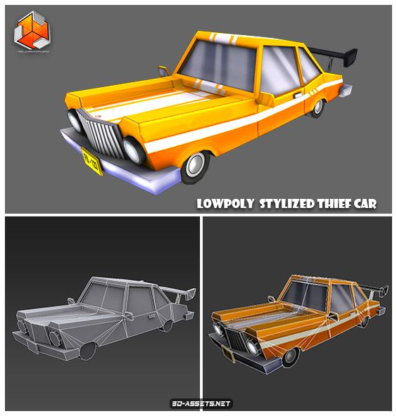 Free Download Low Poly Stylized Thief Car 3d Model Car 3d Model Low Poly Car Low Poly