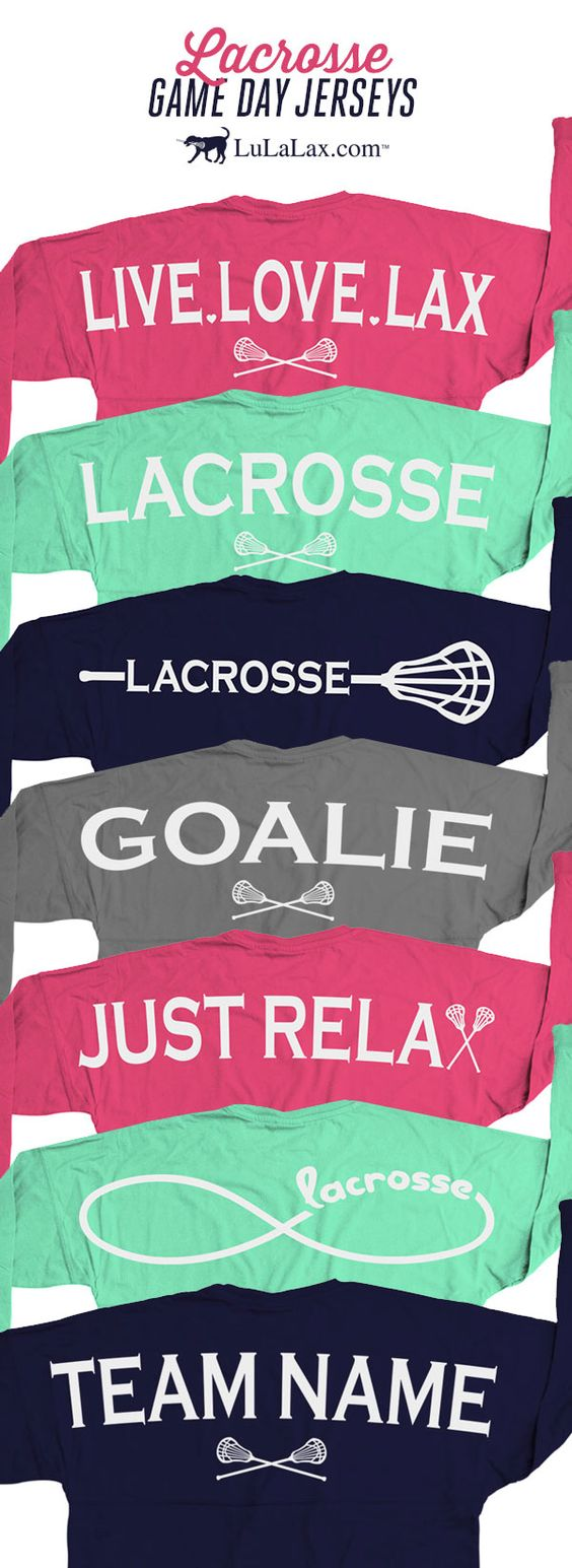 """Our lacrosse game day jersey shirts are super comfy for those chilly summer nights! Show the world how much you love your sport with these adorable lacrosse shirts. They make the perfect gift for any lax girl! Popular designs include Live Love Lax, Just Relax, and our classic """"Lacrosse"""" word. Show your Goalie status with our goalie shirt or add make a custom shirt by adding your team name! Did we mention that the front can be personalized with your monogram? :) Only at LuLaLax.com"""