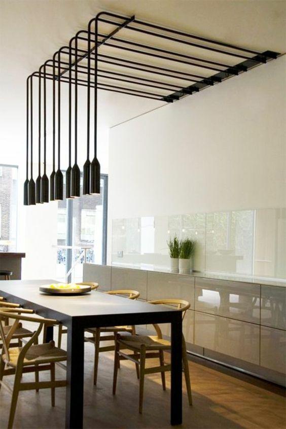 esszimmerlampen schwarze zylinder pendelleuchten | hausidee, Esszimmer dekoo