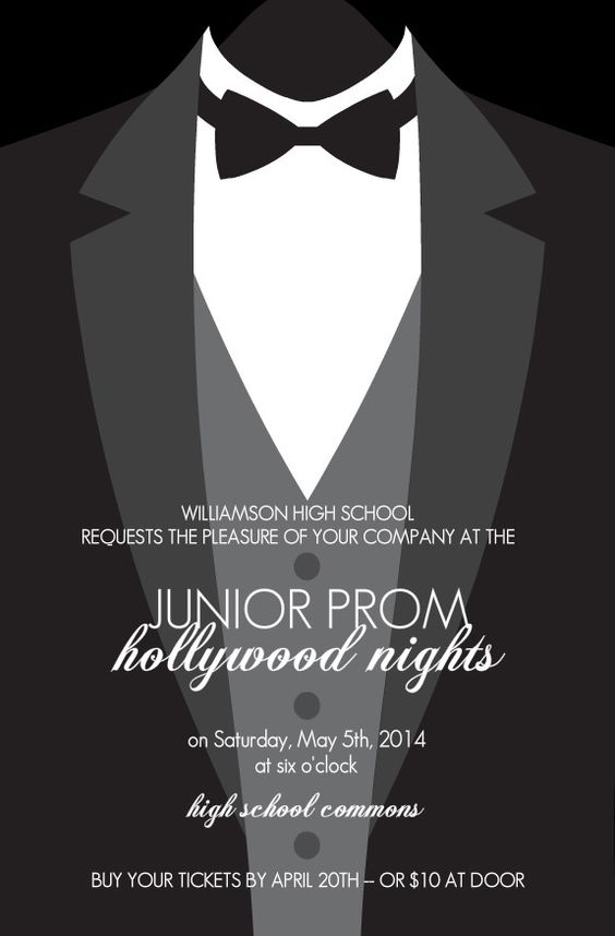 Fomal Tuxedo Prom Invitation prom Pinterest – Prom Invitation Templates