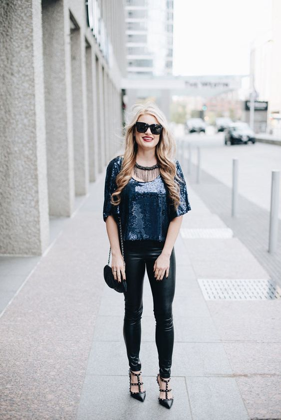 Christian Buck from Christian Blair Style rocks a sequin top, sleek leather leggings, and a Chanel bag