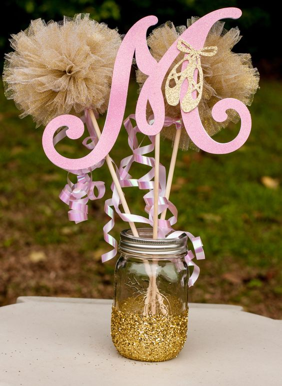 Pink And Gold Table Centerpiece : Ballerina baby shower pink and gold girl centerpiece