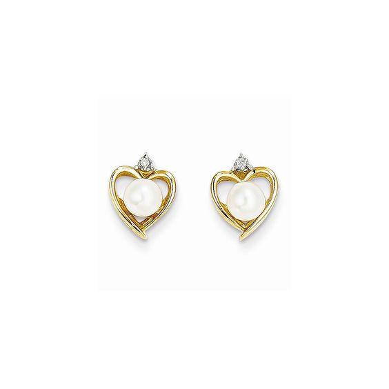 14K Diamond & FW Cultured Pearl Earrings