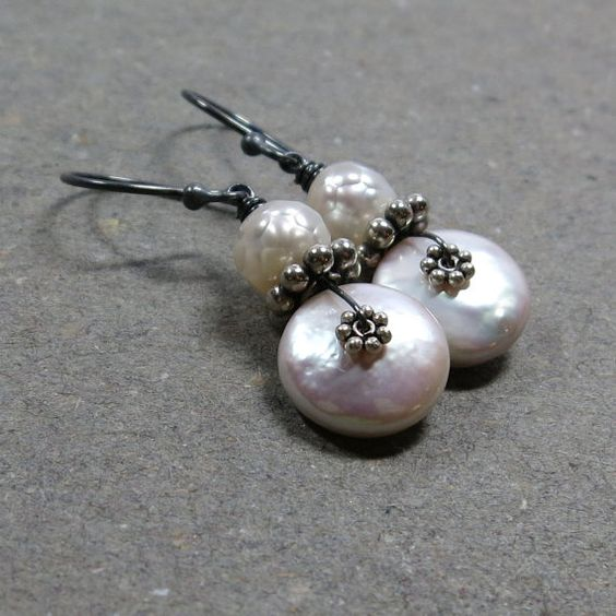 White Coin Pearl Earrings Jund Birthstone Dangle by vickiorion