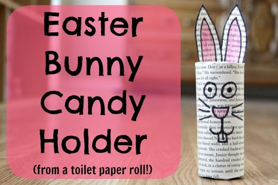 Easter bunny candy holder from toilet paper roll