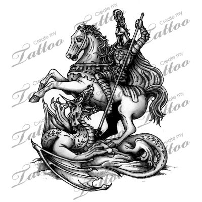 Marketplace Tattoo St. George Slaying the Dragon #2297 ...