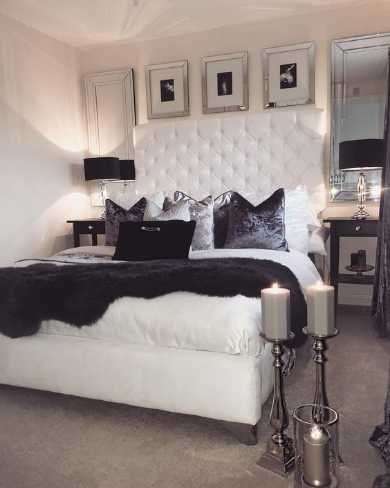 Uploaded By Agnethago Find Images And Videos About Black White And Bed On We Heart It The Ap Glam Bedroom Decor Romantic Bedroom Decor Bedroom Interior