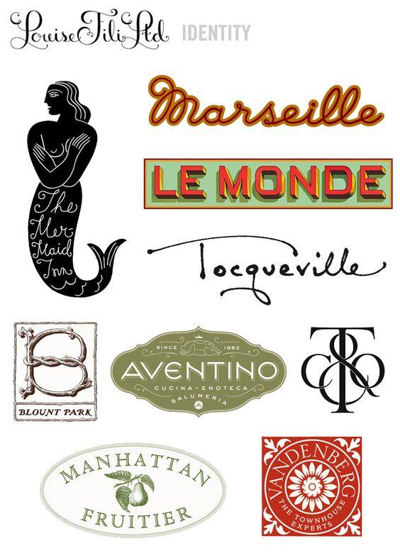Louise Fili logos via lovecreativeblog.com