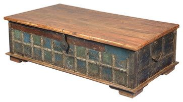 Blue Old Reclaimed Wood Trunk Coffee Table Blanket Chest rustic-storage-boxes