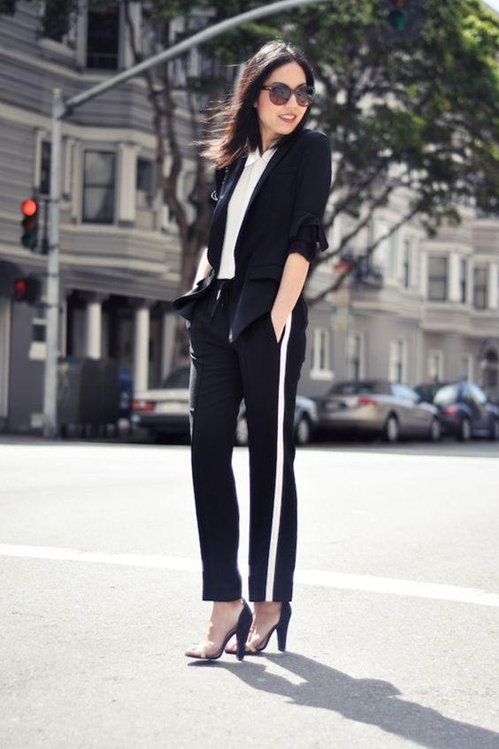 look com calça esportiva e blazer de alfaiataria: para inovar no look de trabalho