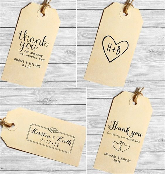 thank you wedding favor tags (custom stamped)