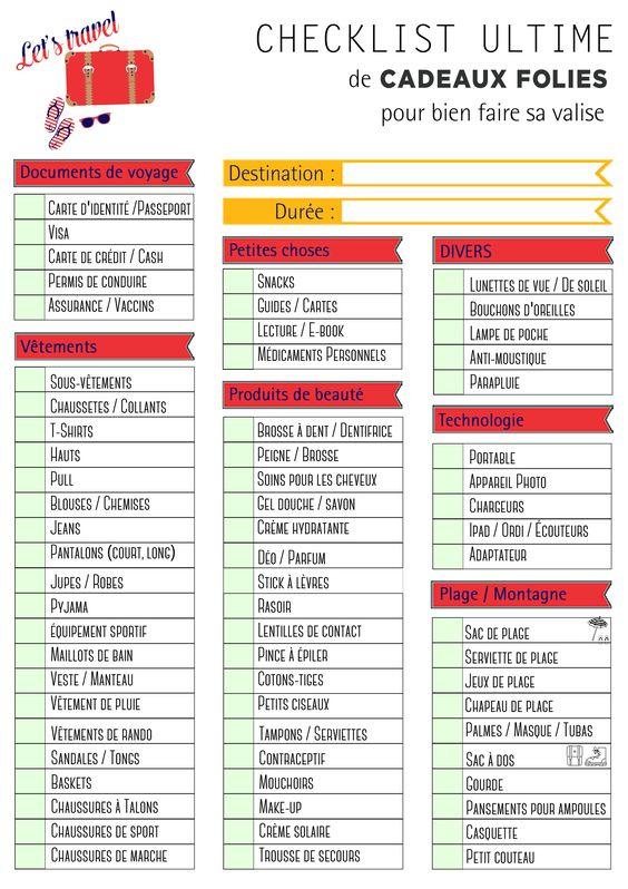 checklist pour faire sa valise