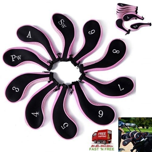 10 Cover Zipper Bag Golf Club Head Irons Sport Outdoor Tool Kit Soft Safe Pink B…