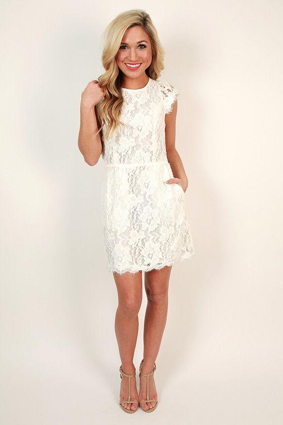 Queen 39 s lace mini dress in white bridal shower dresses for Dresses for wedding rehearsal dinner