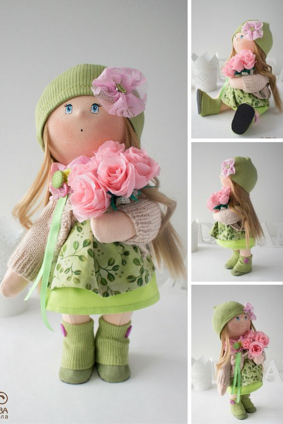Sunny doll Tilda doll Art doll handmade green blonde colors Baby doll Soft doll Cloth doll Fabric doll toy by Master Yulia Postnova: