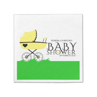 Yellow Baby Carriage Baby Shower Standard Cocktail Napkin