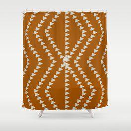 Down To Earth Terracotta Geometric Shower Curtain