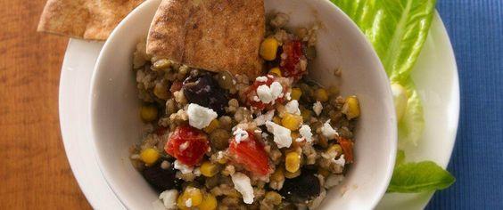 Slow cooked bulgur and lentil dinner - perfect for Mediterranean cuisine.