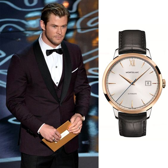 Actor and Oscar® presenter Chris Hemsworth was wearing a Montblanc Meisterstück Heritage Automatic Date timepiece at the Academy Awards.
