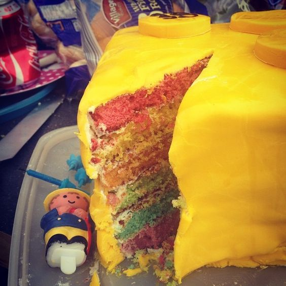 Rainbows cake and Lego cake all rolled into one .... www.facebook.com/kimscakes2