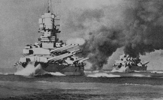 The Italian Battleships Littorio and Vittorio in action during exercises before the war. Both were targets of the Fleet Air Arm at Taranto, the Littorio was badly damaged.