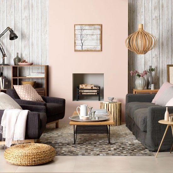 romantisches Wohnzimmer-rosa-grau Landhausstil