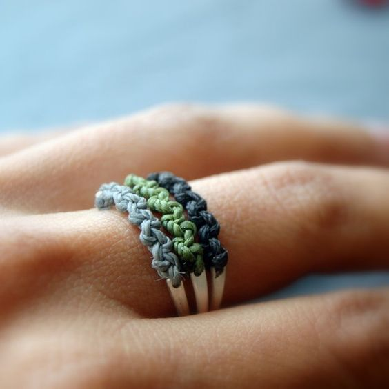 fun crocheted and sterling stacking rings