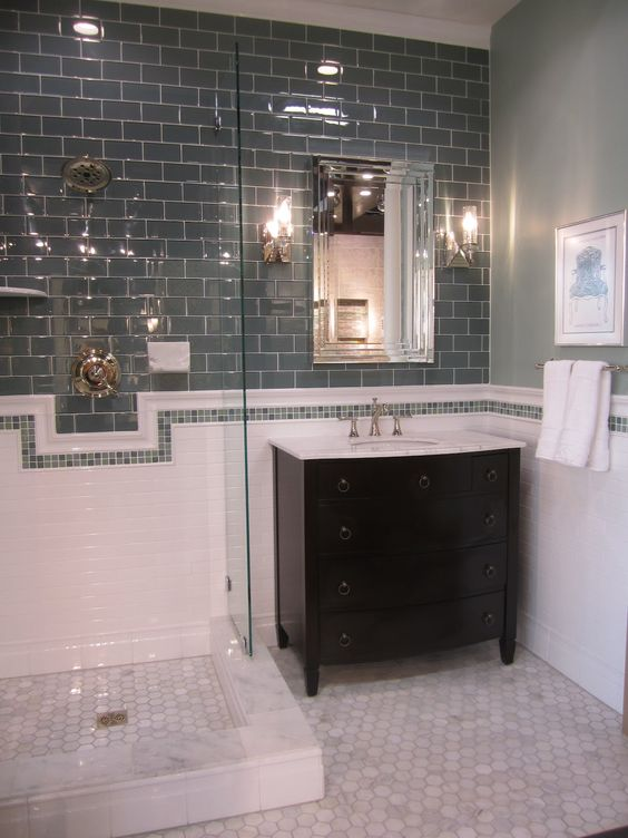 Grey glasses and tile on pinterest - Tiles for bathroom walls and floors ...