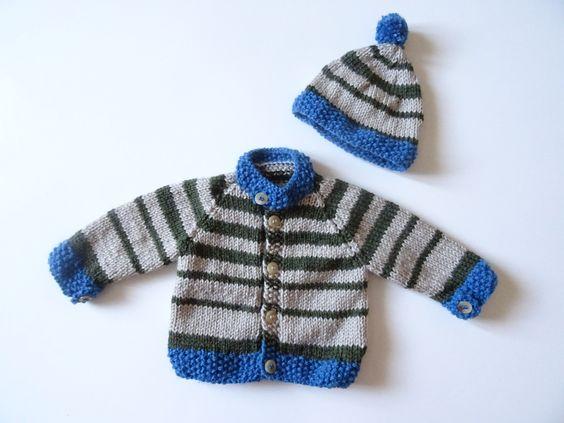 Veste bébé avec son bonnet assorti - gilet bébé à rayures - cardigan garçon…