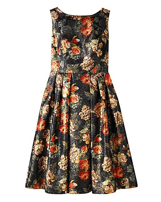 Chi Chi Metallic Floral Brocade Dress | Simply Be