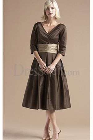 My first choice for bridesmaids dresses. Tea length satin. May add some beading on the sash to dress it up a bit and match my dress.