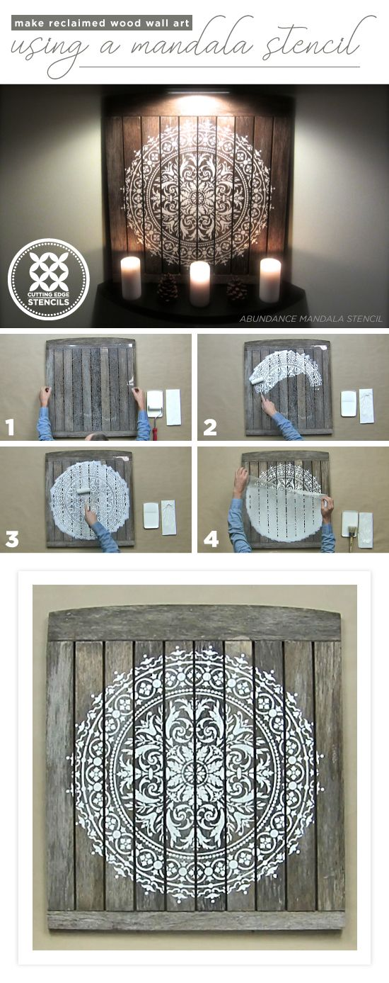 Cutting Edge Stencils shares a tutorial on how to make DIY reclaimed wood wall art using the Abundance Mandala Stencil. http://www.cuttingedgestencils.com/abundance-mandala-stencil-yoga-wall-stencils-mandalas.html