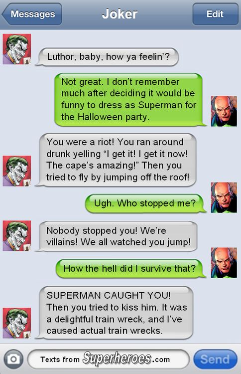 Joker/Luthor, I can here Mark Hamill's voice and the Luthor from the Justice League animated show haha