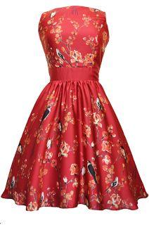 Red Bird Floral Border Tea Dress  Lady Floral and Vintage