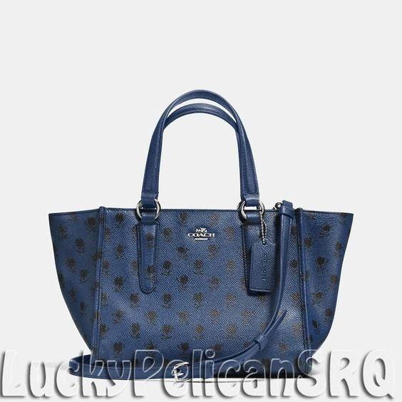 coach satchel bag outlet k4o6  COACH 34774 CROSBY mini Satchel Bag leather Silver/ Blue Black Badlands NWT  #Coach #