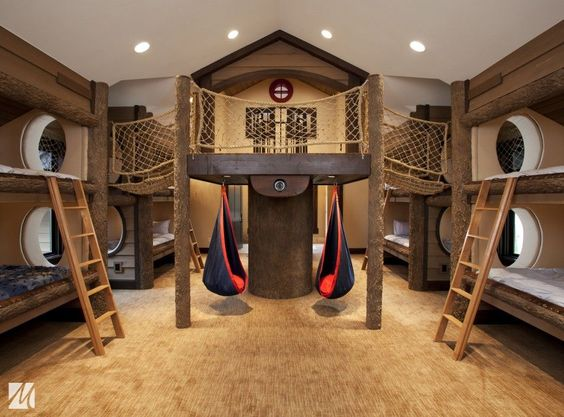 Wonderful cool ideas for boys rooms cool boys rooms blue kids room with wooden triple bunk bed - The year of the wonderful bedroom ...