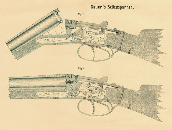 J. P. Sauer & Sohn - 1915: Cutaway drawing of a sidelock in open and closed positions. www.sauer.de