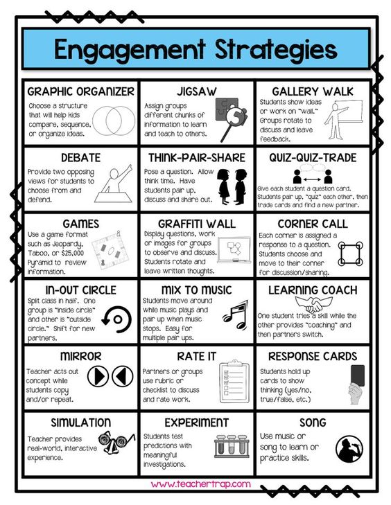 "Engagement Strategies reference page - perfect to have out during planning! From Teacher Trap's ""Lesson Plan Pack."":"