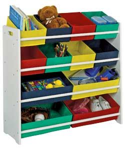 buy 4 tier white child 39 s storage unit with bins at your online shop for children 39 s. Black Bedroom Furniture Sets. Home Design Ideas