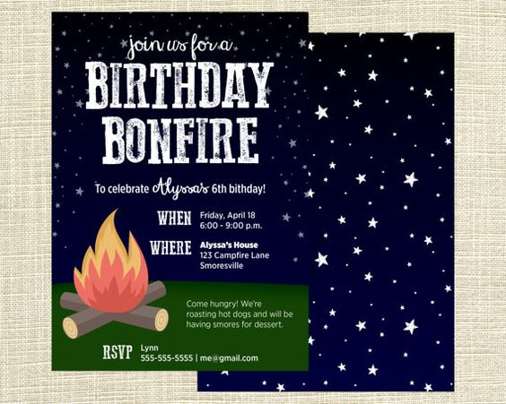 Printable Campfire Bonfire Campout Birthday Party Invitation