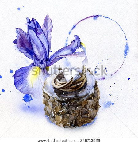 Watercolor purple iris with a chocolate cake and  frame in the background. - stock photo
