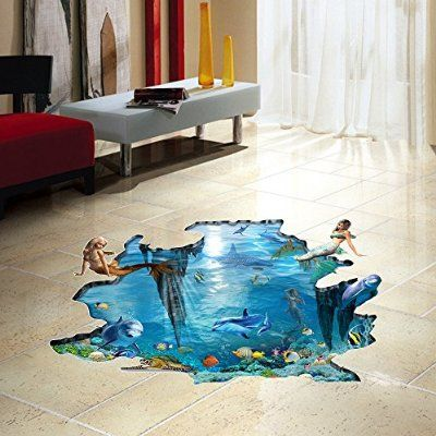 H4s Mermaid Dolphin In Blue Ocean Sea 3d Peel And Stick Waterproof Non Slip Vinyl Pvc Door Bathtub Bath Mat Show Kids Wall Decals Kids Living Rooms Floor Decal