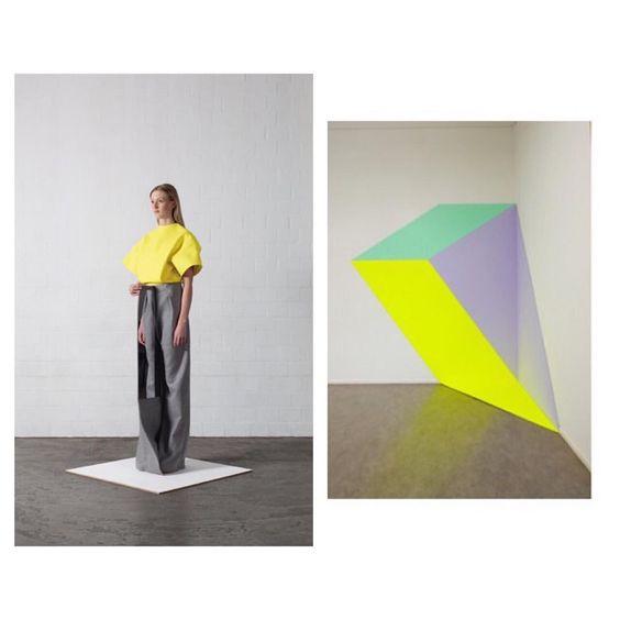 Leonie Barth // Ich Ist Ein Anderer Henriëtte van 't Hoog // Spandrel II, 2009 #LeonieBarth #HenriettevantHoog #contemporaryfashion #contemporaryart #blocks #lines #brightyellow #geometrical #beinspired