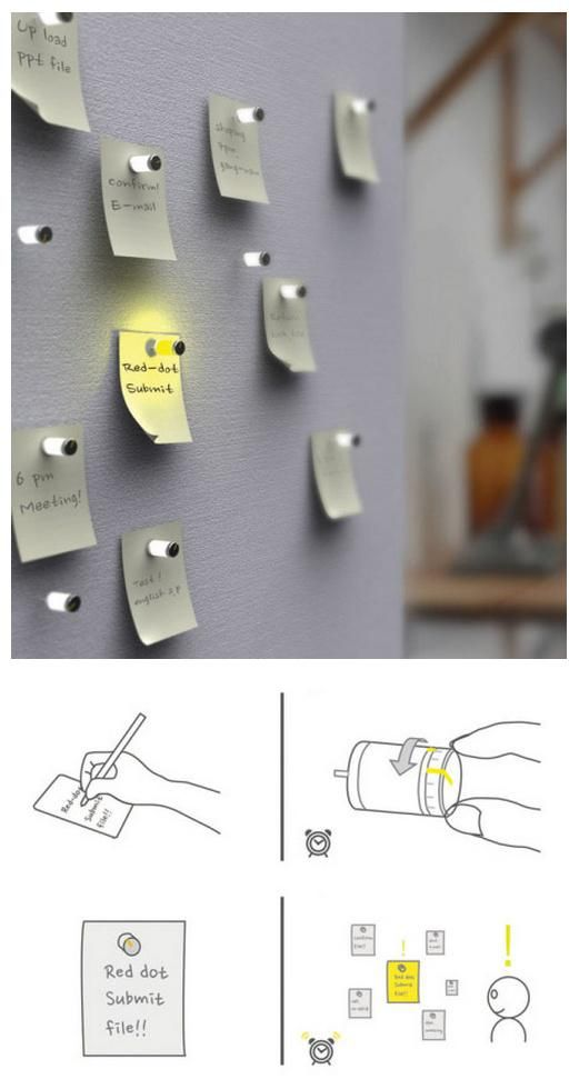 Tech Desk Decor: Light-Up Memo Note Timer Pins