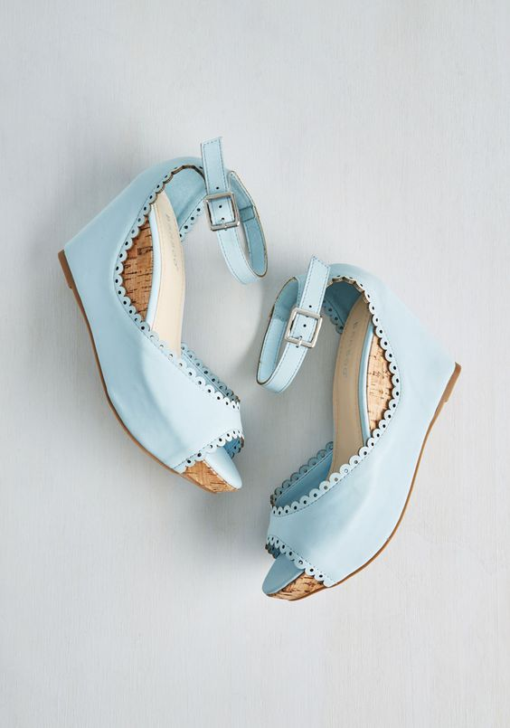 Sweetheart And Sole Wedge in Sky - Mid, Faux Leather, Blue, Solid, Buckles, Cutout, Daytime Party, Spring, Summer