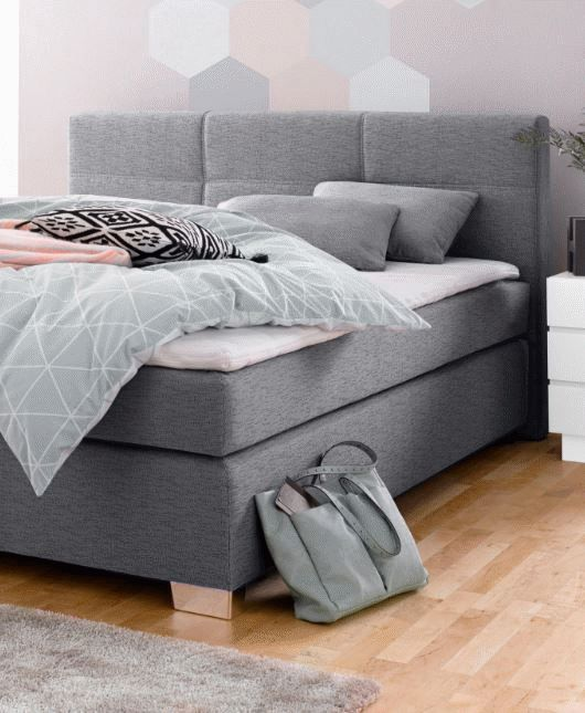 Boxspringbett Bea 140x200 Cm Hellgrau H3 Mit Visco Toppermoebelfreude De In 2020 Box Spring Bed Bed Bed Pillows