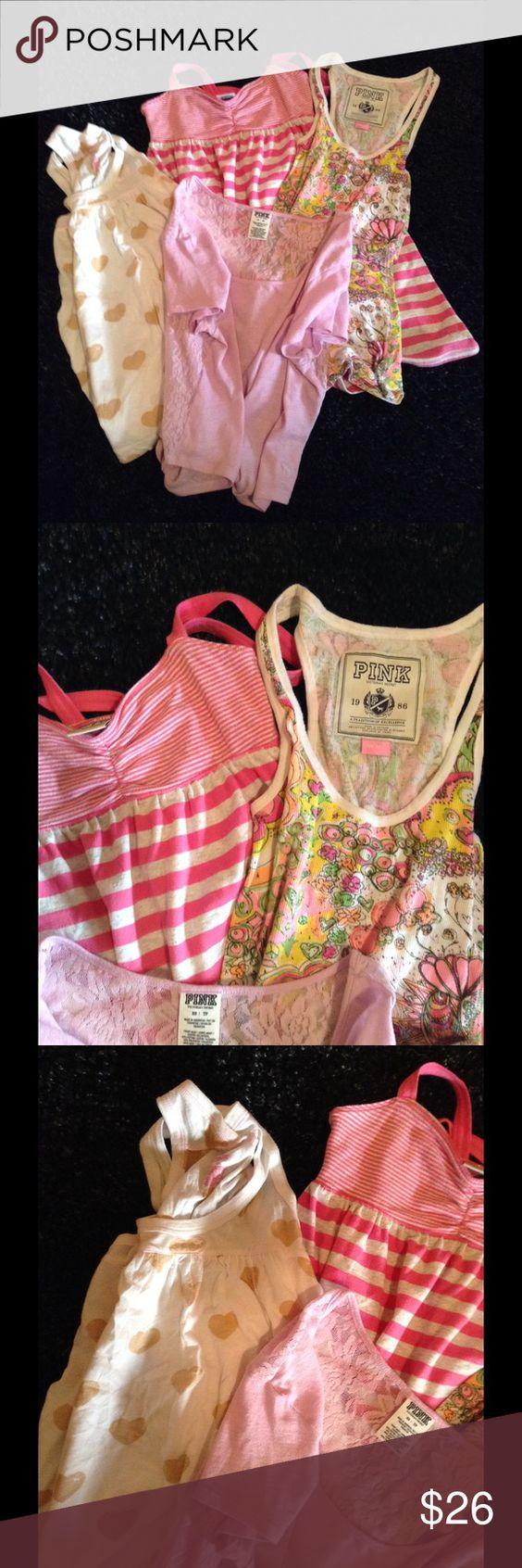 Bundle of PINK 4 items 3 are XS  except the floral tank which is a small (form fitting). Stripe tank dress, heart print loose tank and orchid color t with lace back.  Since this is pre bundled it would count as one item for any additional bundle discount PINK Victoria's Secret Tops Blouses