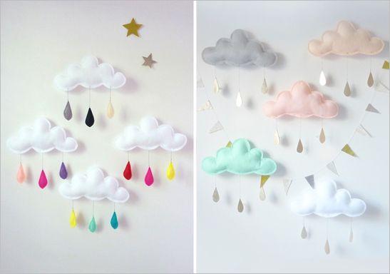 decoration chambre bebe avec un mobile en feutrine en forme de nuage: